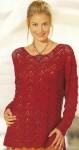 Красный пуловер с ажурным зигзагом