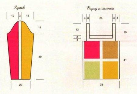 Вязаный пуловер из квадратов