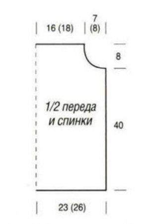 Схема вязания топа с кружевной кокеткой