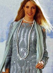 Вязаный ажурный пуловер цвета мяты