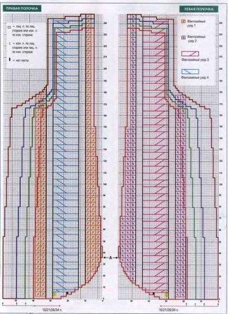 Схема вязания жакета фантазийным узором
