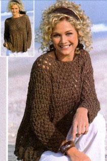 Вязаный пуловер с волнистыми краями