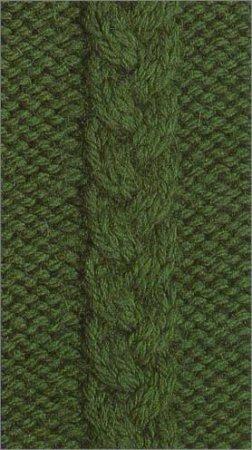 """Схема узора коса  """"альтернативная """" для вязания спицами.  Число петель = 6 на фоне изнаночной глади.  Вязание 1 ряда (с..."""