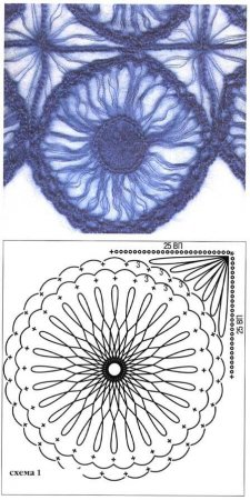 Вязаный палантин из голубого мохера