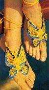 Вязаное украшение для ног - бабочка