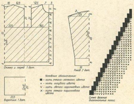 Вязаный жакет с диагональными полосами