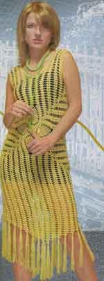 Вязаное жёлтое платье