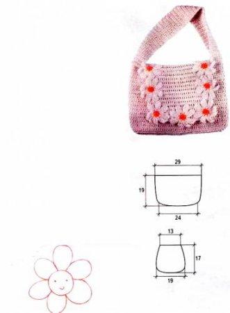 Вязаная сумка с ромашками