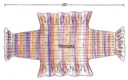 Вязаная меланжевая накидка-болеро